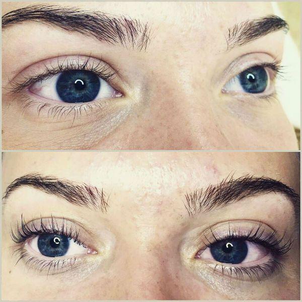 Пример ламинирования под теино-синие глаза фото
