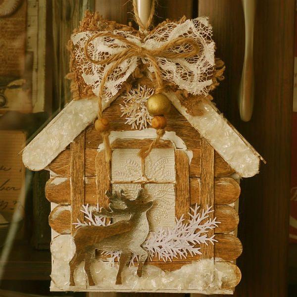 Новогодние украшения из палочек от мороженого 4 фото
