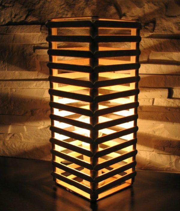 Светильник из палочек от мороженого фото