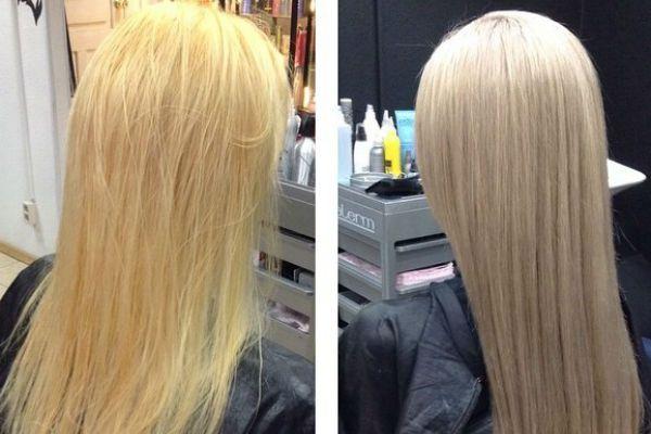 Выравнивание светлого оттенка волос фото