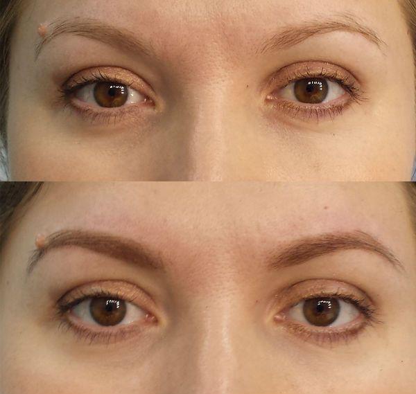 Брови до и после окрашивания фото