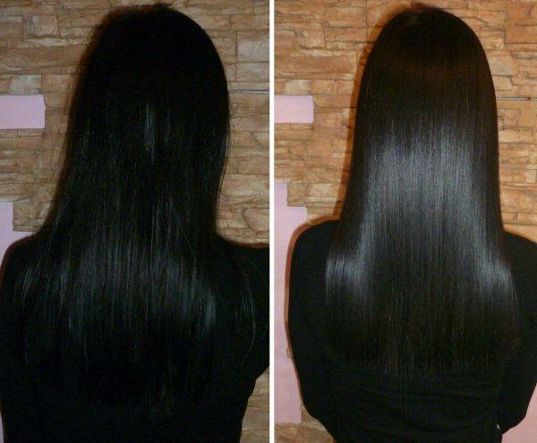 Кератиновое насыщение черных волос фото
