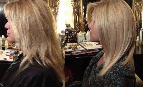 Ламинирование и выправление средних волос фото