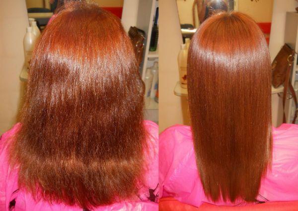Ламинирование и выправление рыжих волос фото