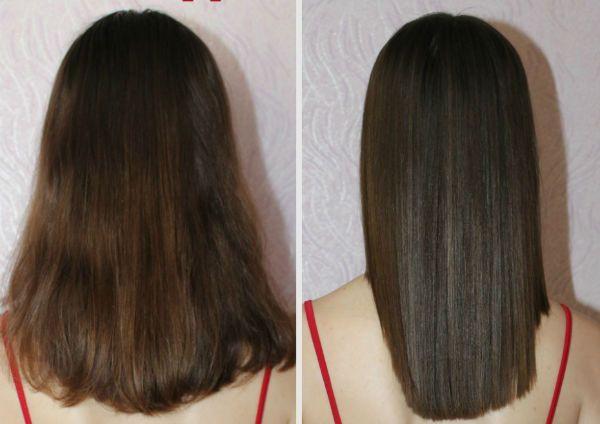 Ламинирование и выправление темных волос фото