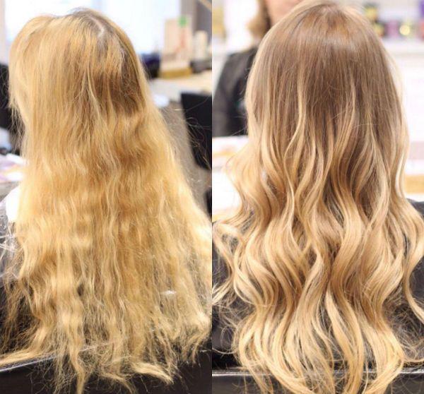 Ламинирование светлых вьющихся волос фото