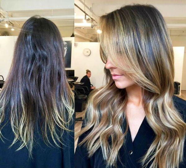Мелирование с эффектом выгорания для средних волос фото