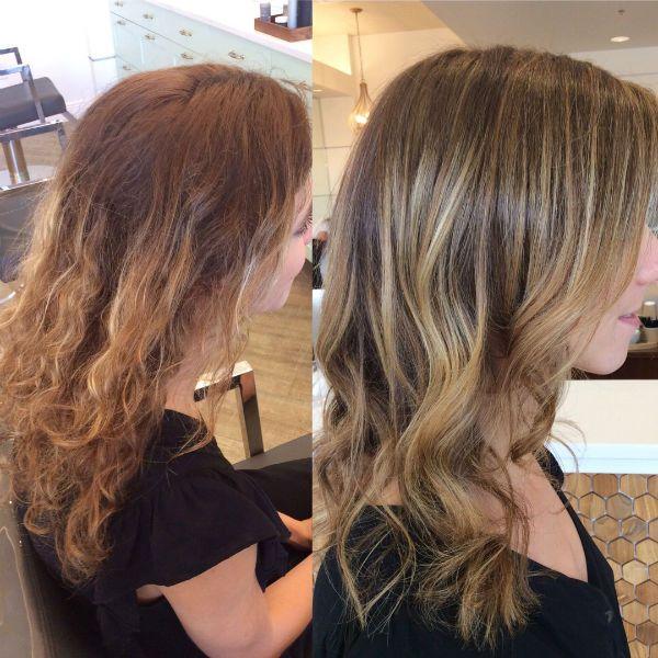Окрашивание под выгоревшие светлые волосы на кудрях фото