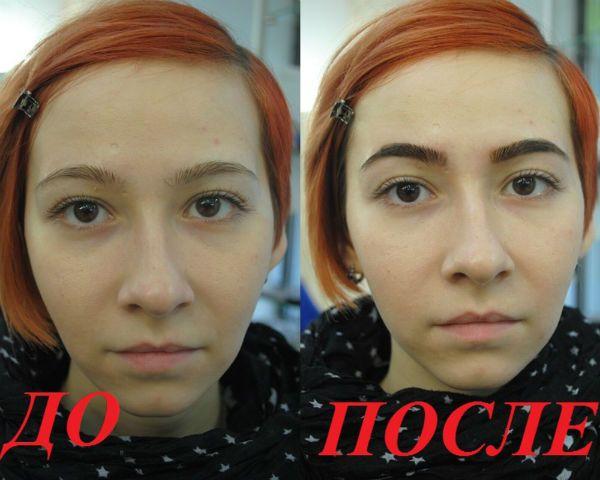 Пример окрашивания бровей фото