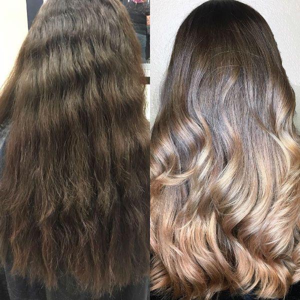 Шатуш на кудрявых волосах фото