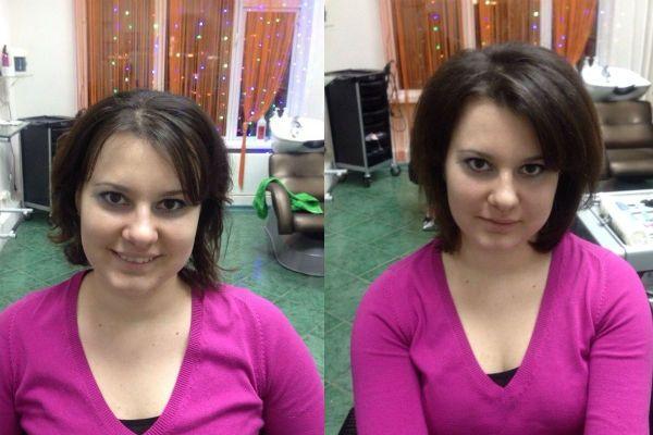 Прикорневой объем на коротких волосах фото