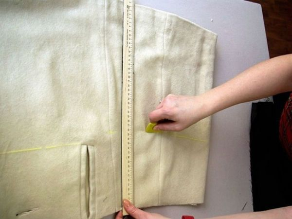 Отмеряем ткань для баски фото