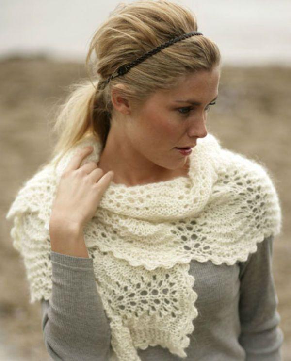 Белый легкий шарф фото