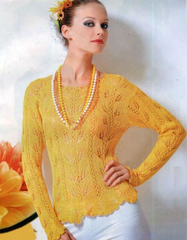 Блуза с листовым узором фото