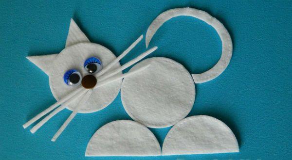 Кот из ватных дисков фото