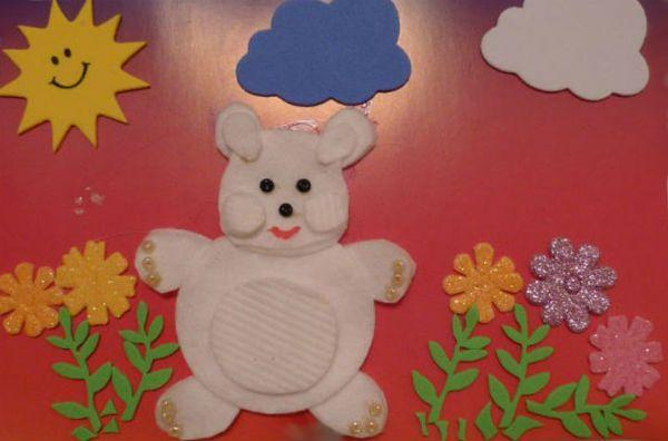 Медведь из ватных дисков фото