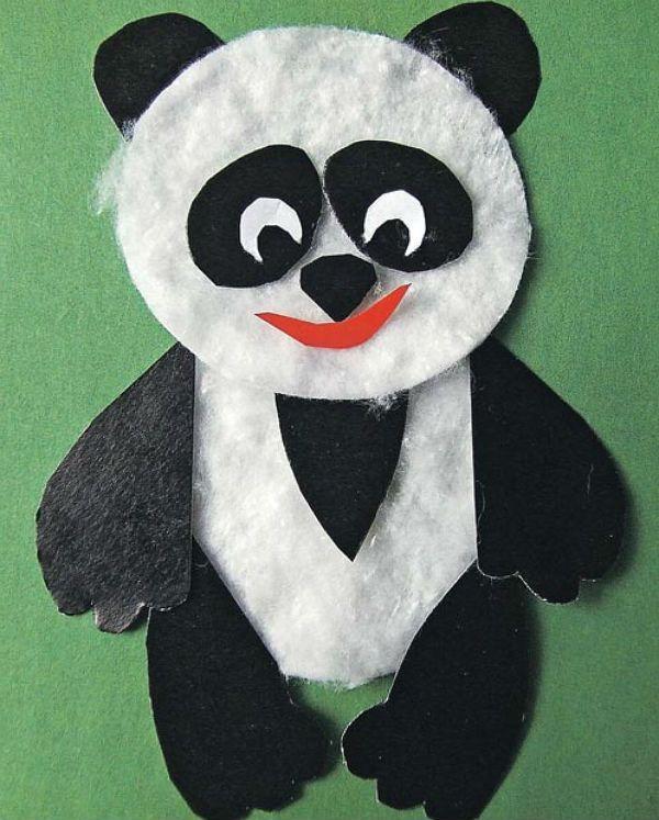 Панда из ватных дисков фото
