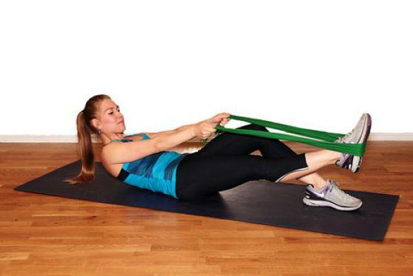 Пресс с подъемом ноги упражнение 2 фото