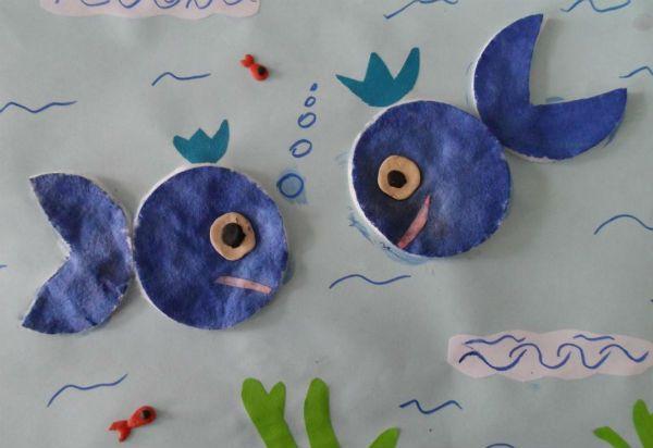 Рыбы из ватных дисков фото
