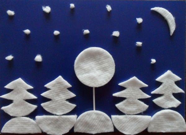 Зимний лес из ватных дисков фото