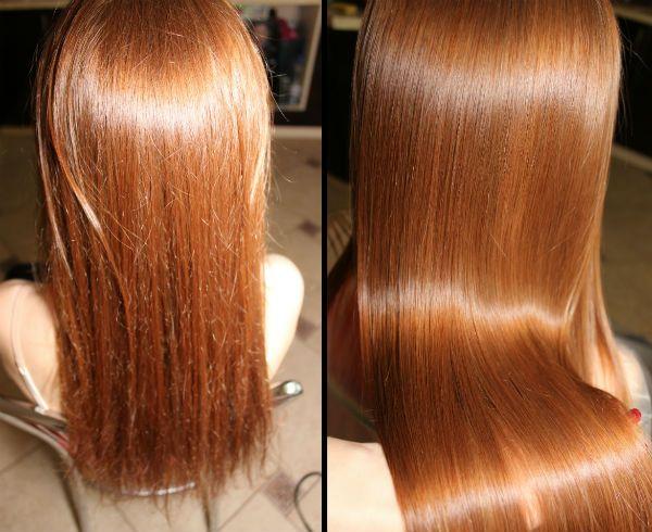 Фотография до и после полировки волос
