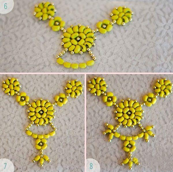 Ожерелье из фасоли последовательность поклейки деталей фото