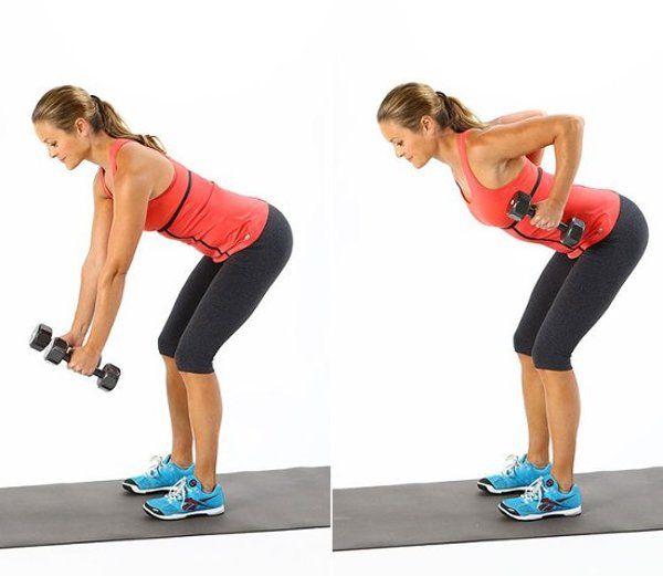 упражнение с гантелей для спины