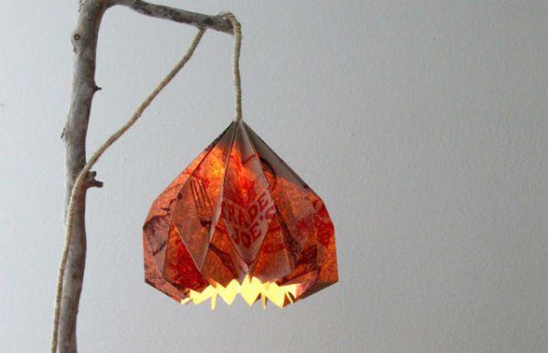 Бра из бумаги в технике оригами готовое изделие фото