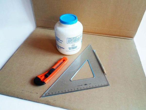 Квадратный бра из картона инструменты фото