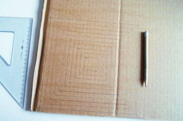 Квадратный бра из картона шаг 1 фото