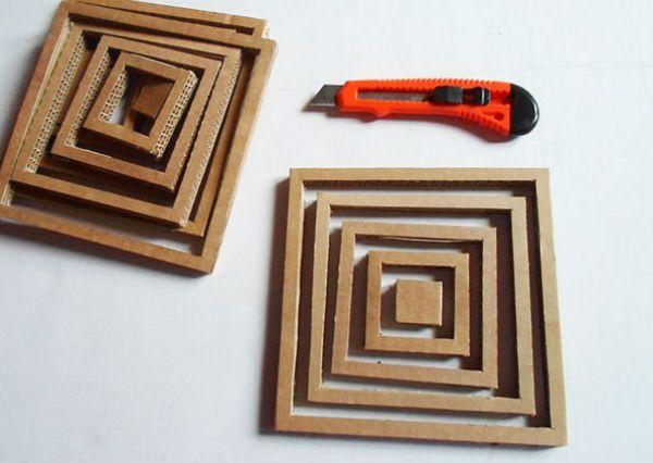 Квадратный бра из картона шаг 2 фото