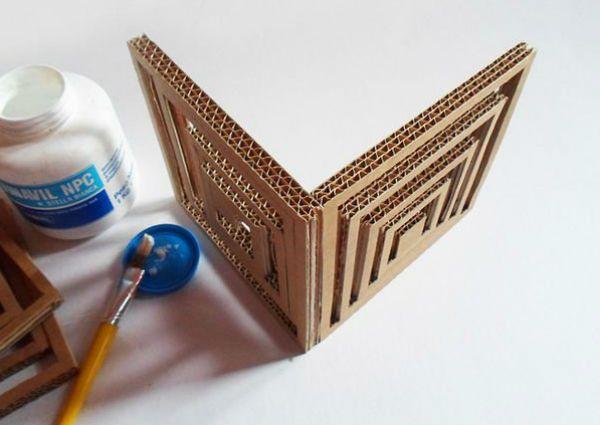 Квадратный бра из картона шаг 5 фото