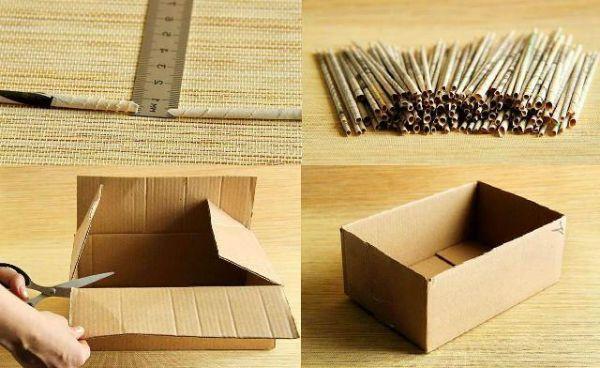 Коробка из газетных трубочек шаг 4 фото