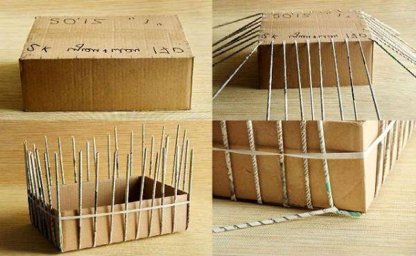 Коробка из газетных трубочек шаг 5 фото