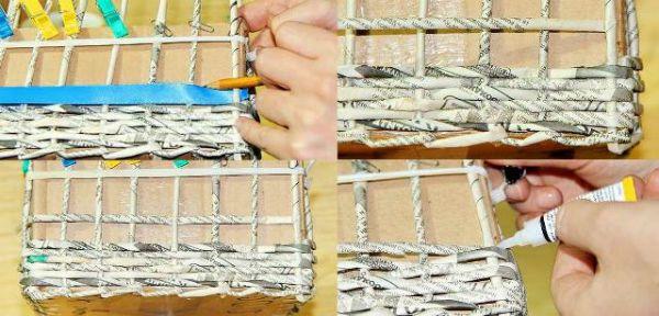 Коробка из газетных трубочек шаг 8 фото