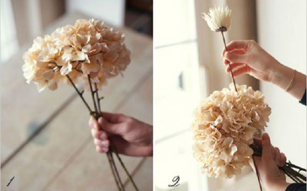 Свадебный букет из хризантем шаг 1 и 2 фото