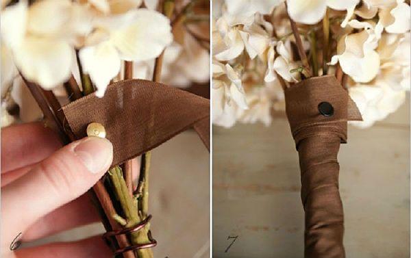 Свадебный букет из хризантем шаг 6 и 7 фото