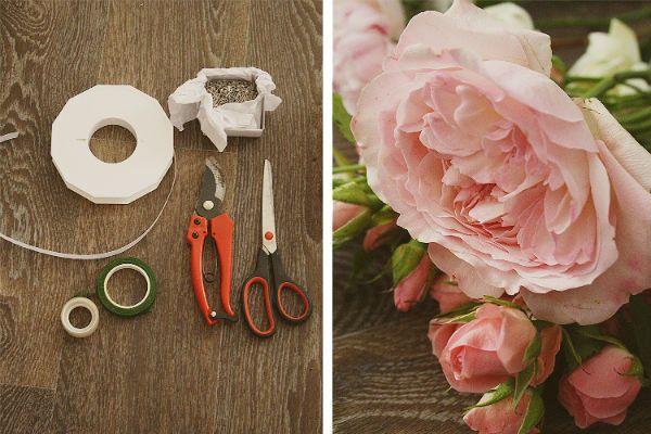 Свадебный букет из пионов и роз с бутоньеркой шаг 1 фото
