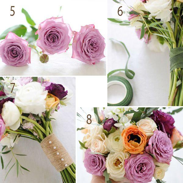 Свадебный букет из ранункулюса и роз шаг 2 фото