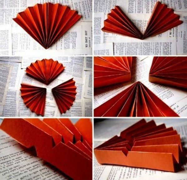Веер из бумаги шаг 1