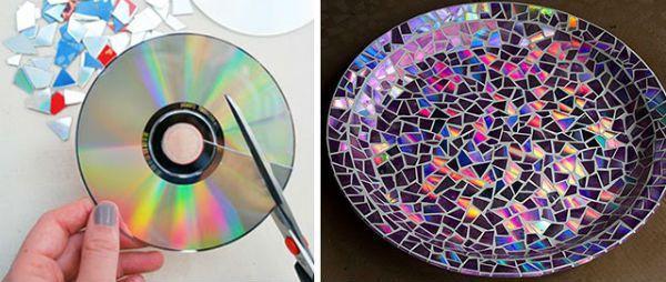 Декор блюда компакт-дисками фото