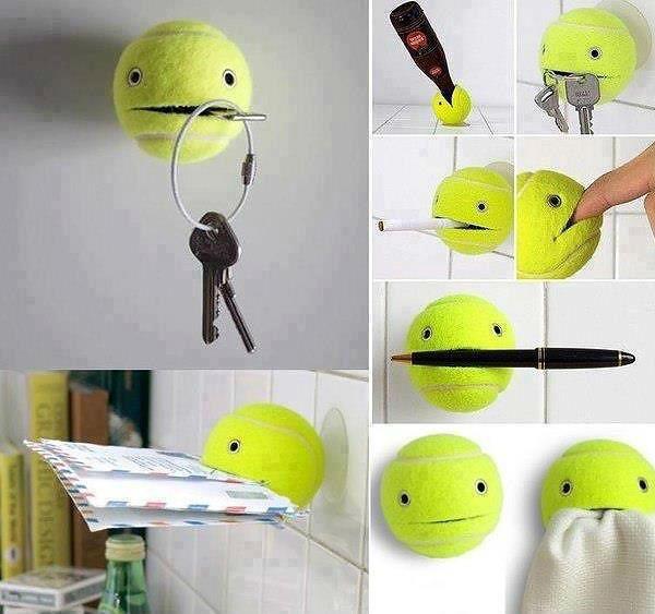 Держатель из теннисного мячика фото
