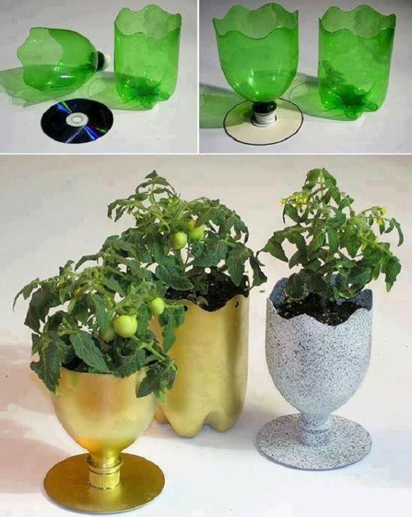 Кашпо из пластиковых бутылок фото