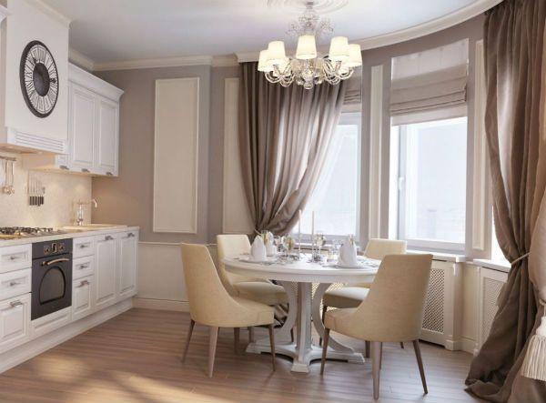 Оформление окна на кухне в классическом стиле вариант 12 фото