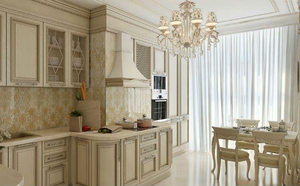 Оформление окна на кухне в классическом стиле вариант 2 фото