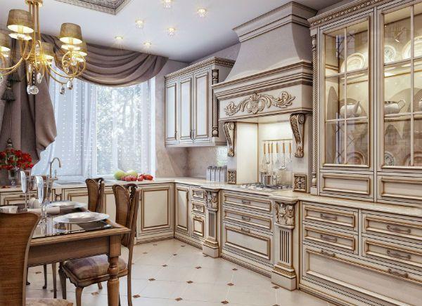 Оформление окна на кухне в классическом стиле вариант 5 фото