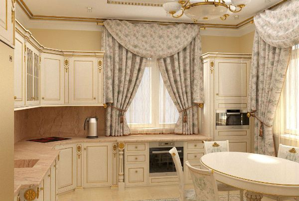 Оформление окна на кухне в классическом стиле вариант 6 фото