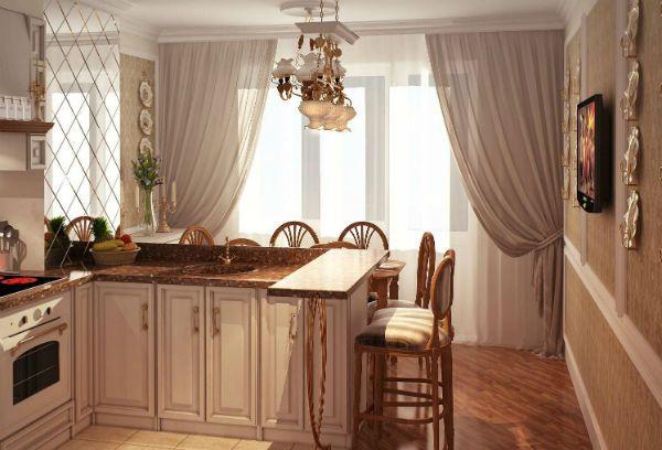 Оформление окна на кухне в классическом стиле вариант 7 фото