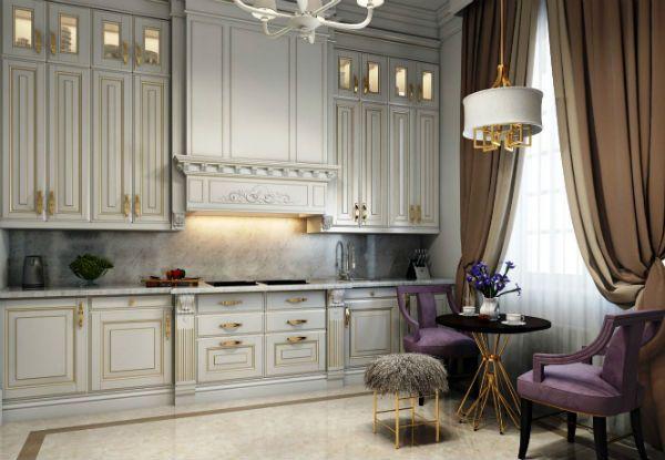 Оформление окна на кухне в классическом стиле вариант 8 фото