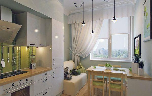Оформление окна на кухне в скандинавском стиле вариант 2 фото